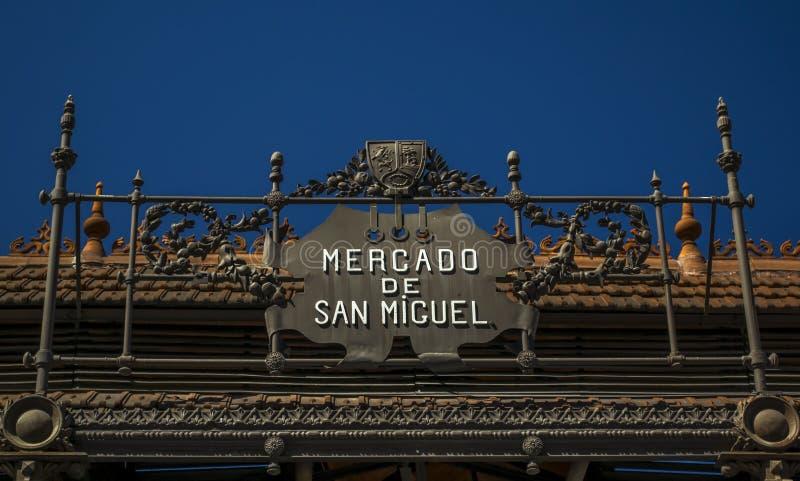 Mercado De San Miguel znak zdjęcie stock