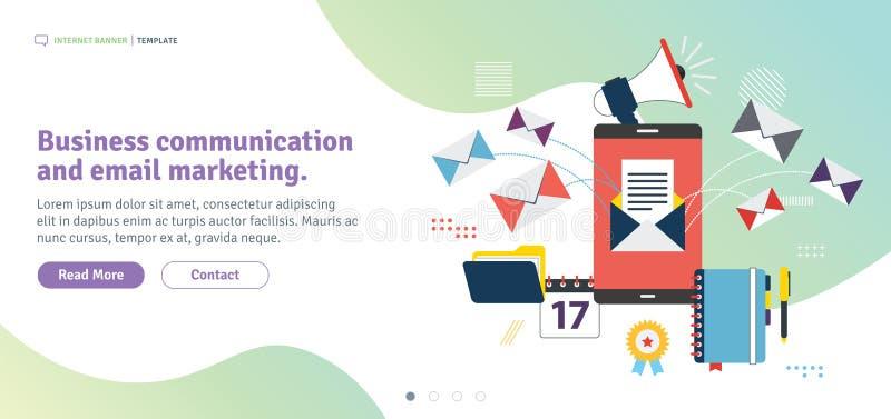 Mercado de uma comunicação empresarial e do e-mail ilustração stock