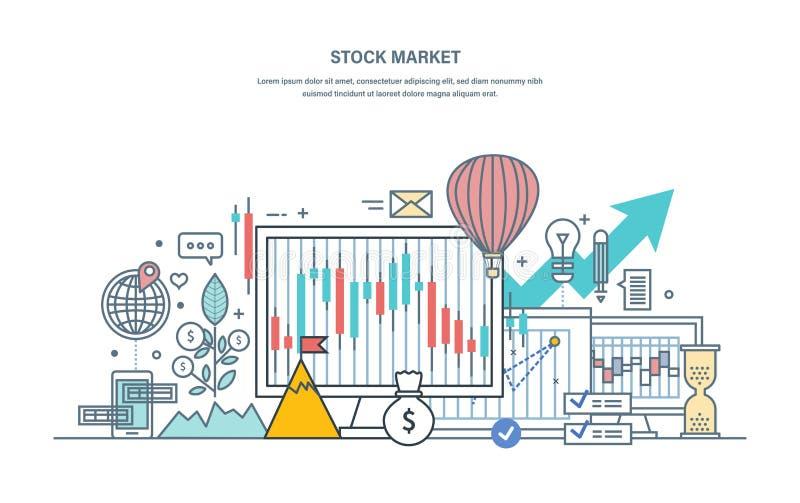 Mercado de valores de ação financeiro, proteção dos comércios, mercado de capital, comércio eletrônico, investimentos ilustração royalty free