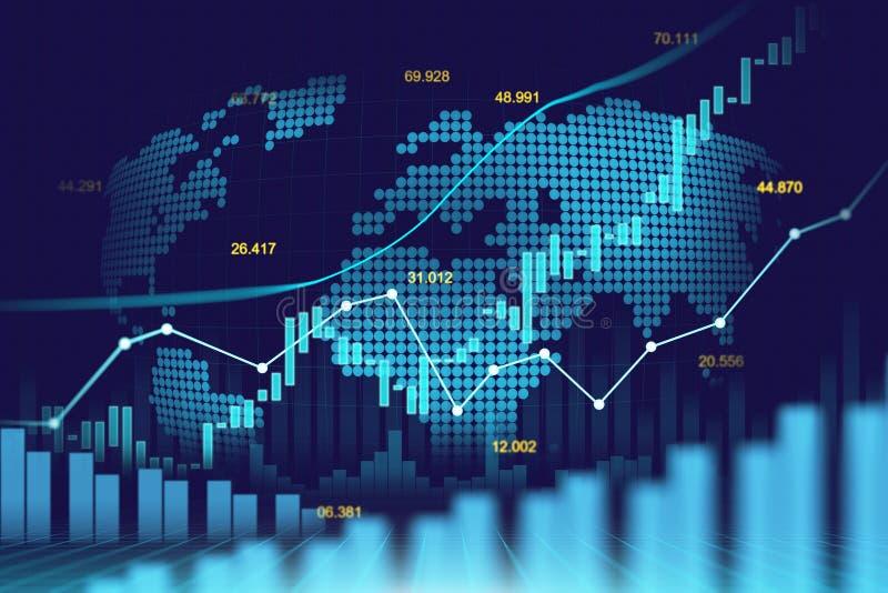 Mercado de valores de ação ou gráfico de troca dos estrangeiros no conceito futurista ilustração do vetor