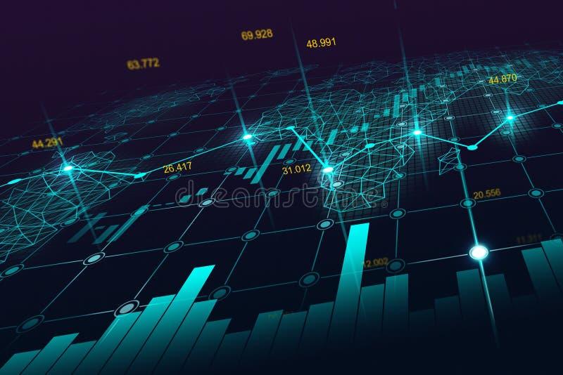 Mercado de valores de ação ou gráfico de troca dos estrangeiros no conceito futurista ilustração royalty free