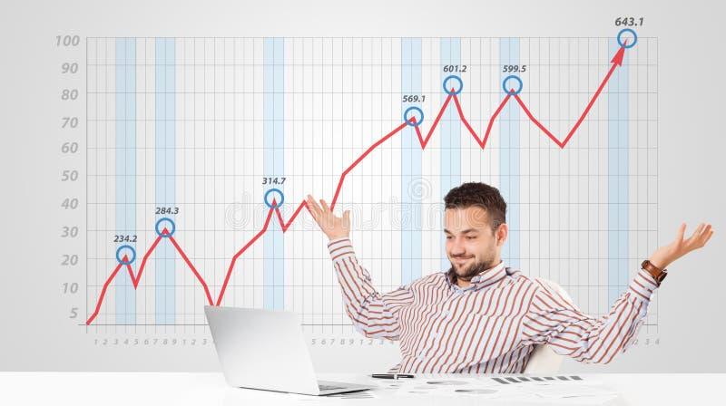 Mercado de valores de ação calculador do homem de negócios com gráfico de aumentação nos vagabundos imagens de stock