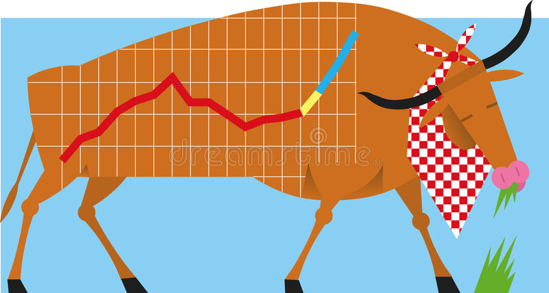 Mercado de valores de acção Bull ilustração stock