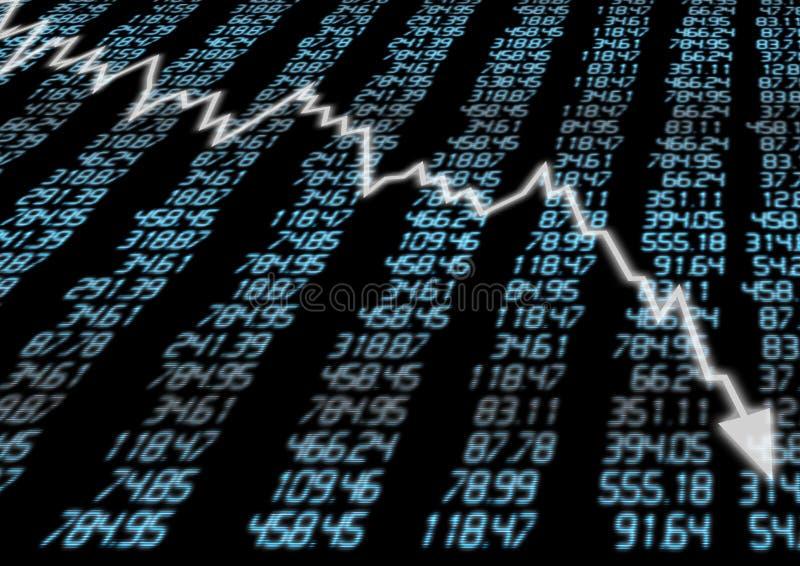 Mercado de valores de acção para baixo ilustração stock