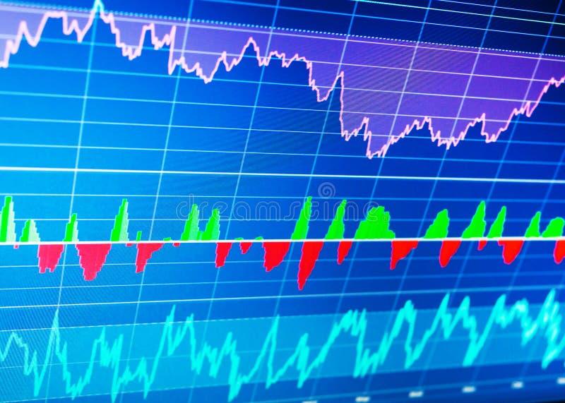 Mercado de valores e outro de ação temas da finança Conceito dos dados da finança imagem de stock