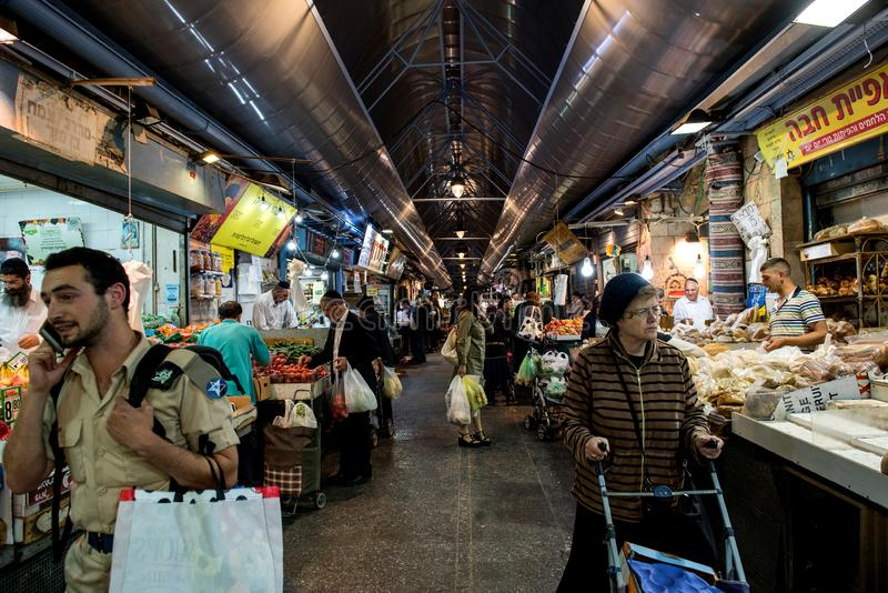 Mercado de Yehuda no Jerusalém, Israel imagens de stock