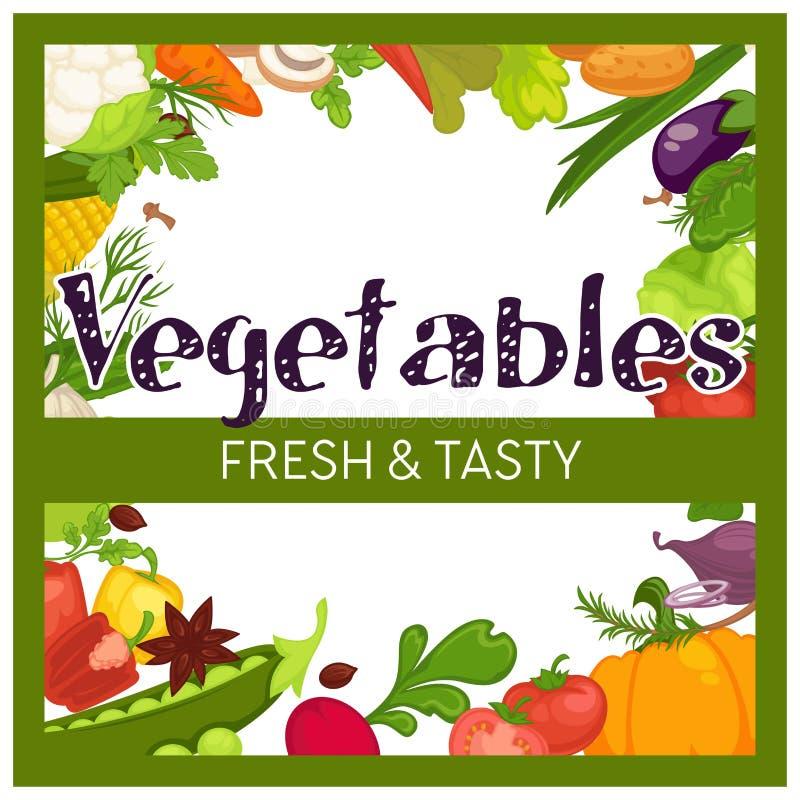 Mercado del marco de las verduras o cosecha o cosecha del colmado libre illustration