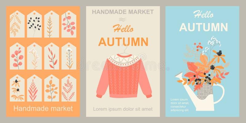 Mercado del otoño de productos hechos a mano Fije de las imágenes para el diseño de banderas, de aviadores y de etiquetas con el  libre illustration