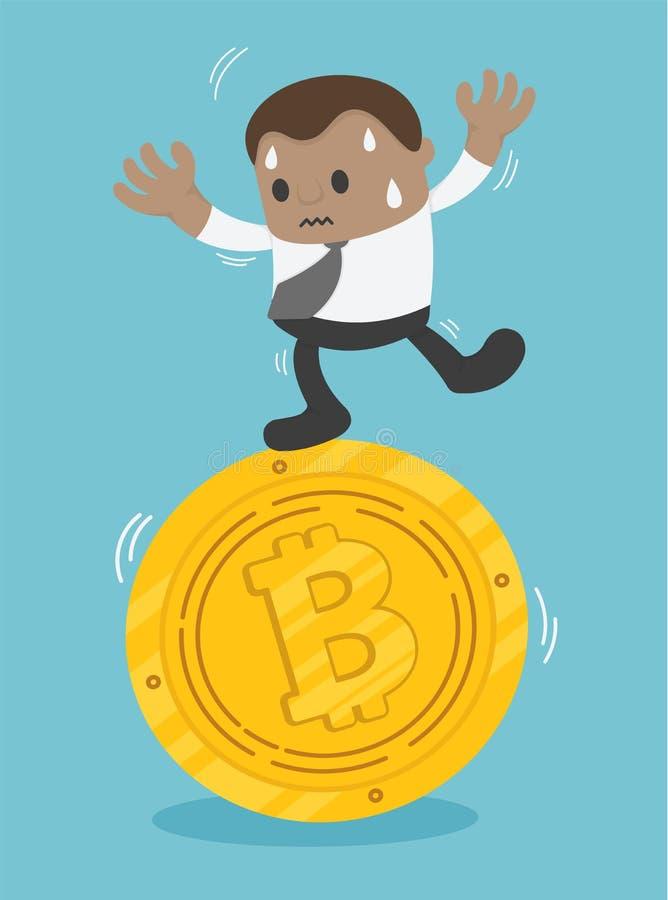 Mercado difícil de la quiebra de Bitcoin del empleado, dificultades en el w stock de ilustración