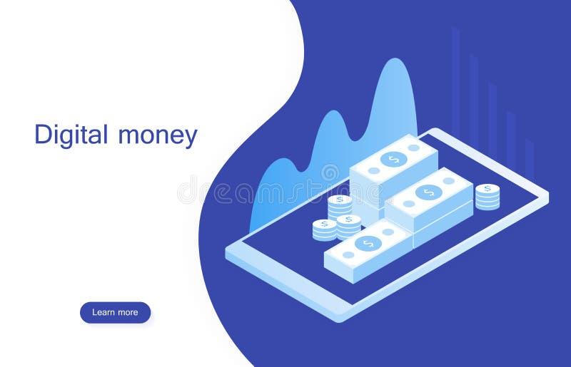 Mercado digital do conceito o dinheiro digital analisa com carta do gráfico Web site do projeto do modelo Ilustração isométrica m ilustração royalty free