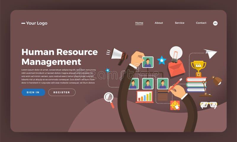 Mercado digital liso do conceito de projeto do Web site do projeto do modelo Hu ilustração royalty free