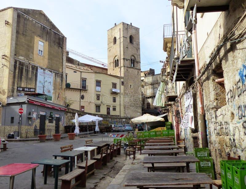 Mercado do ² de Ballarà de Palermo cedo na manhã sicília Italy imagem de stock