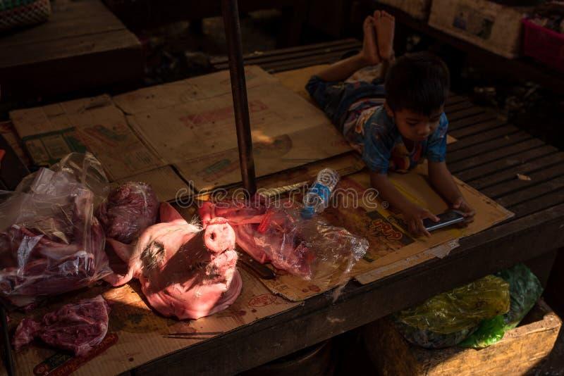 Mercado do alimento da rua, menino que joga o celular perto da cabeça do porco fotografia de stock royalty free