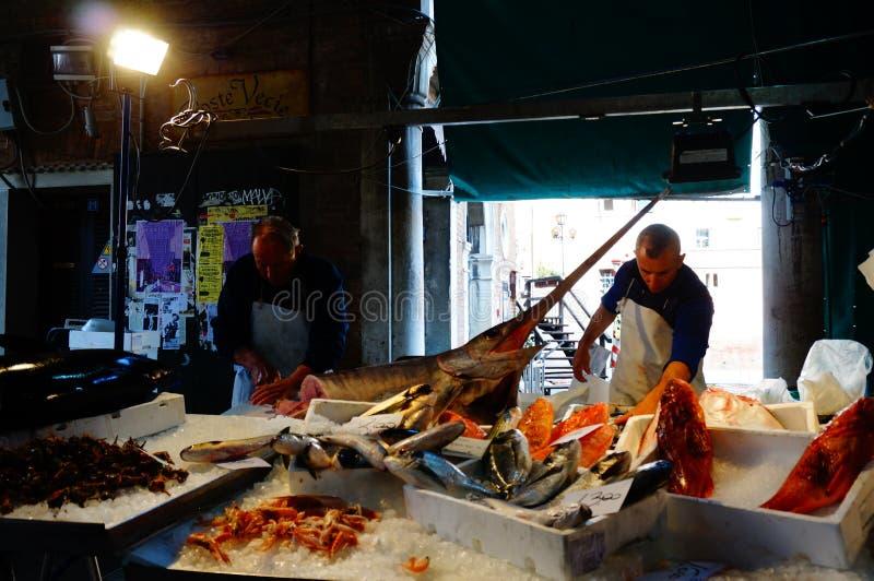 Mercado do alimento de mar de Veneza fotos de stock royalty free