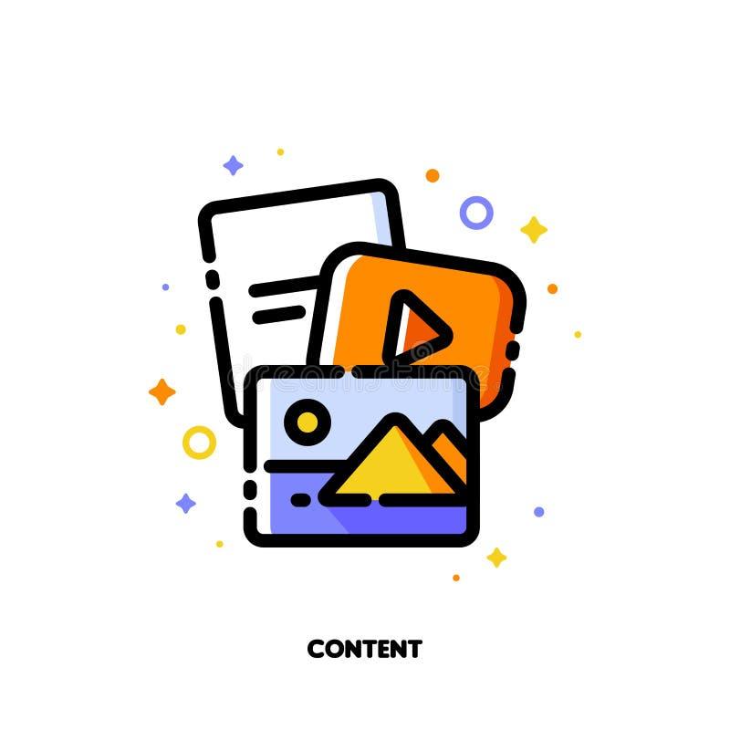 Mercado do conteúdo digital e meios sociais que compartilham do conceito ícone ilustração do vetor