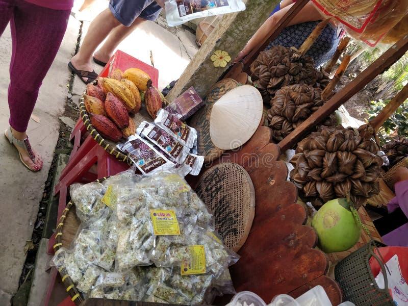 Mercado do delta de mekong foto de stock