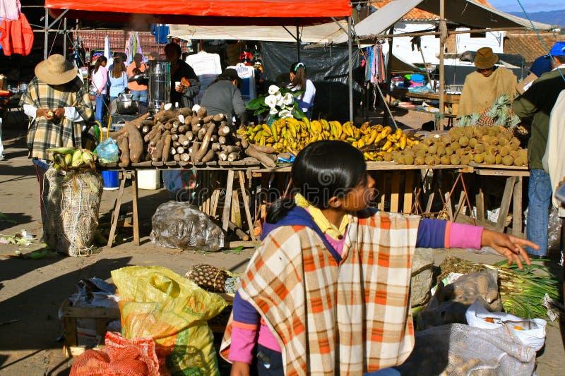 Mercado do domingo do fazendeiro, Casa de campo de Leyva, Colômbia imagem de stock
