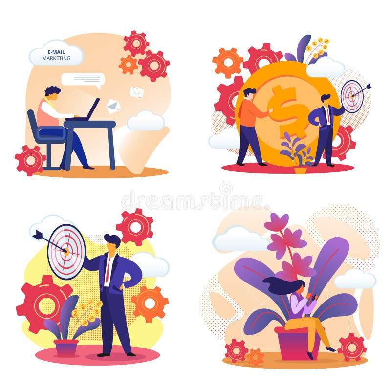 Mercado do e-mail, visando, sucesso comercial ilustração royalty free