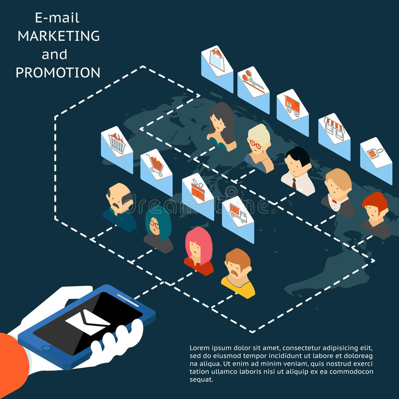 Mercado do email e promoção app ilustração stock