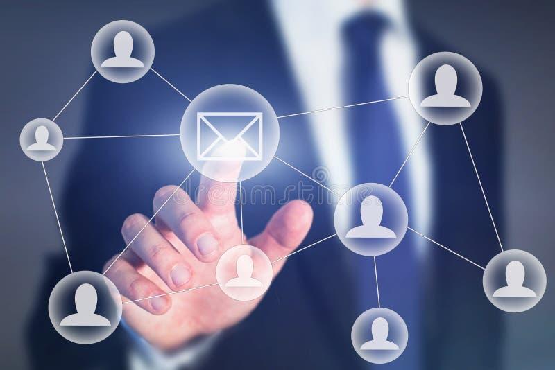 Mercado do email ou conceito de uma comunicação empresarial fotografia de stock royalty free