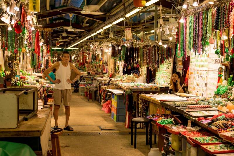 Mercado do jade em Yau Ma Tei, Hong Kong foto de stock