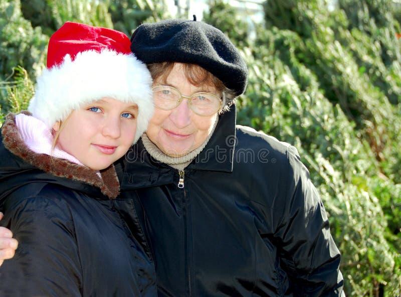 Mercado do Natal da família fotos de stock royalty free