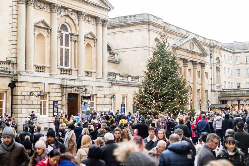 Mercado do Natal do banho - multidão dos povos A imagens de stock