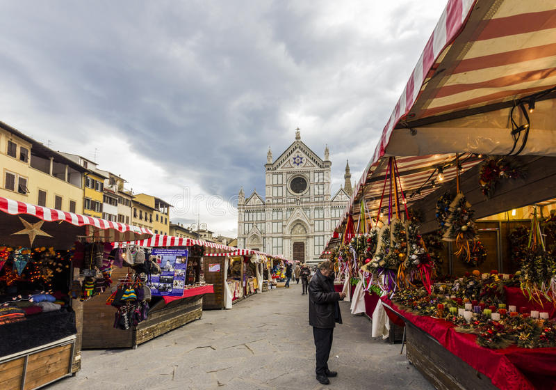 Mercado do Natal em Florença foto de stock