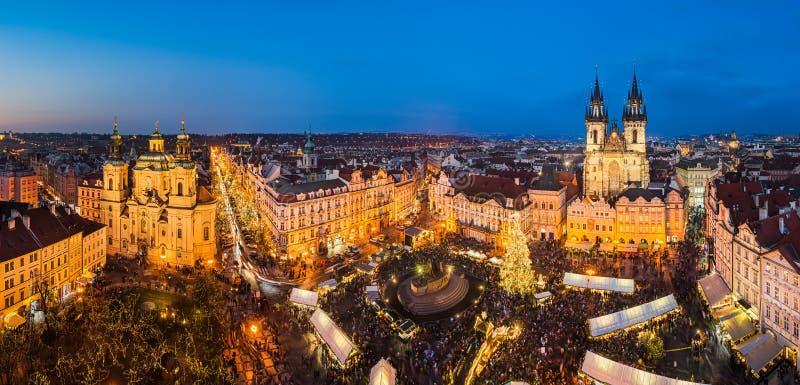 Mercado do Natal em Praga, república checa fotografia de stock