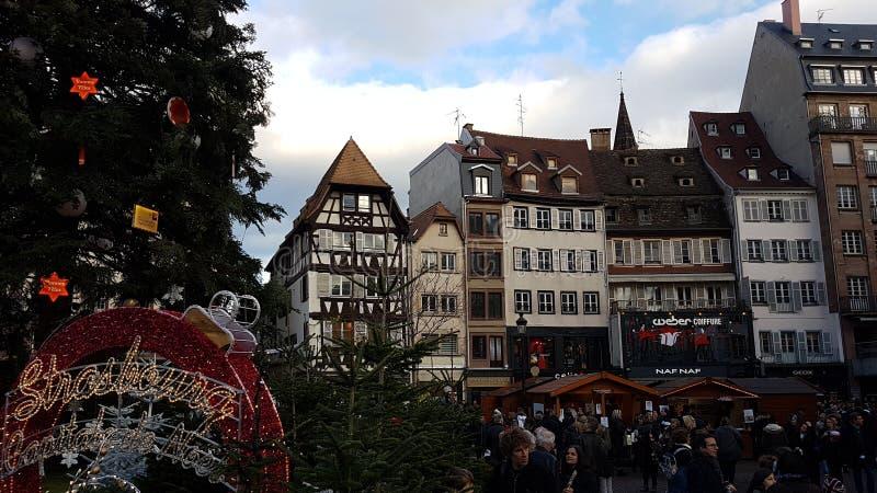 Mercado do Natal em Strasbourg foto de stock