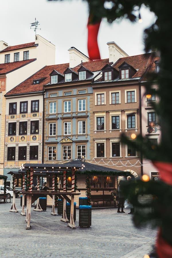 Mercado do Natal no mercado velho da cidade de Varsóvia foto de stock royalty free