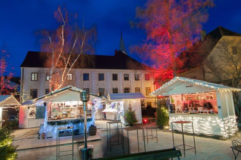 Mercado do Natal, Zagreb, Croácia fotos de stock