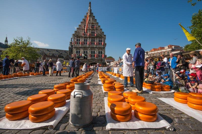 Mercado do queijo de Gouda fotos de stock