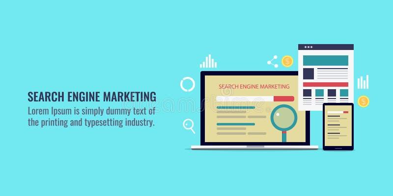 Mercado do Search Engine, campanha do adword, estratégia do ppc, conceito pago da publicidade online Bandeira lisa do vetor do pr ilustração stock