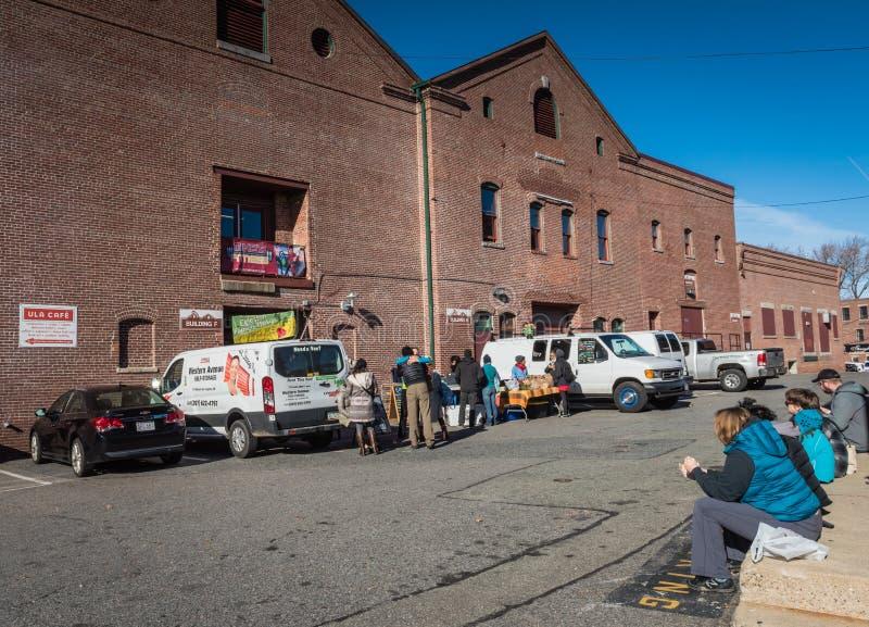 Mercado dos fazendeiros do fim de semana - complexo de Haffenreffer - Boston, miliampère foto de stock