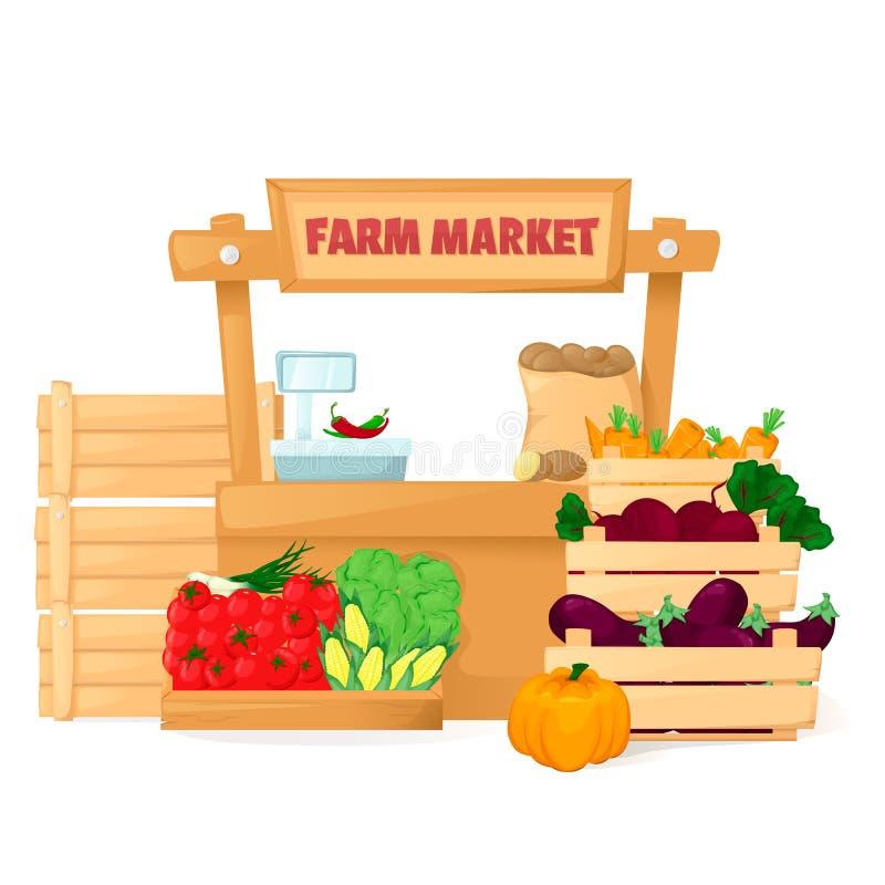 Mercado dos fazendeiros Loja local orgânica de Eco Vendendo frutas e legumes Suportes do produto Vetor do estilo dos desenhos ani ilustração do vetor