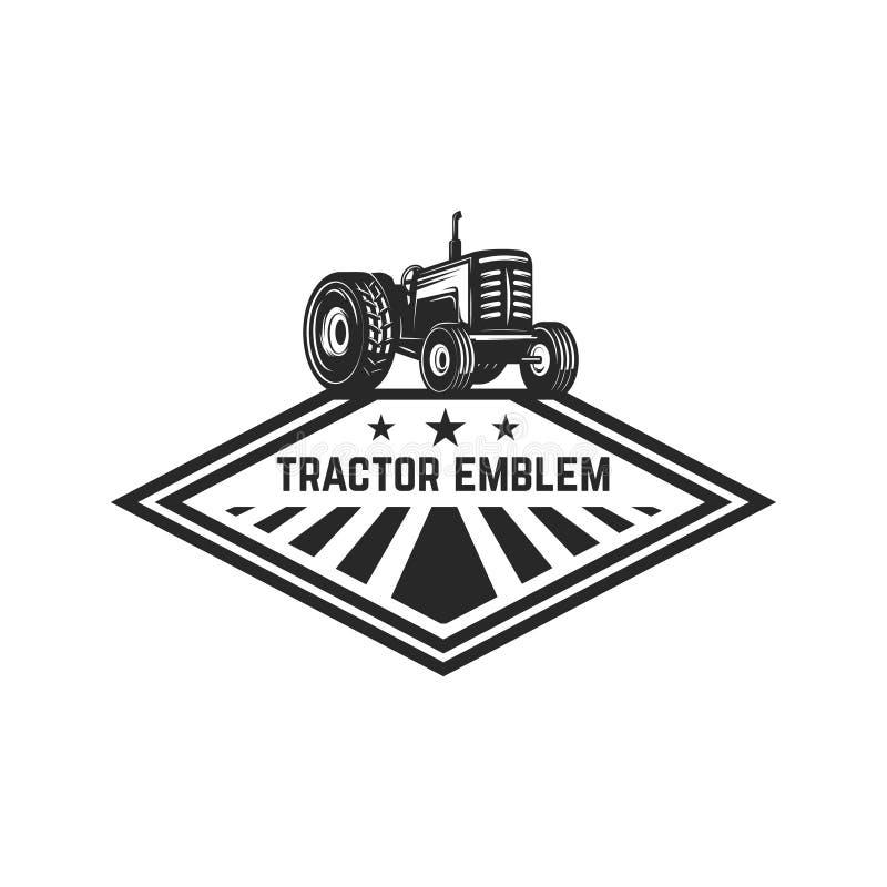 Mercado dos fazendeiros Molde do emblema com trator Projete o elemento para o logotipo, etiqueta, emblema, sinal ilustração stock