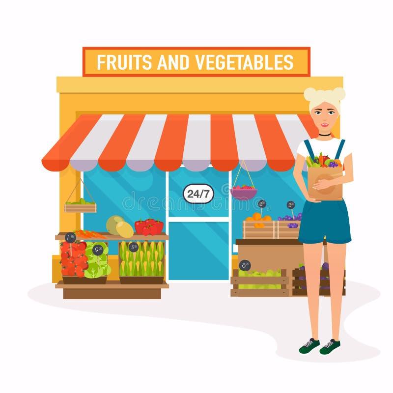 Mercado dos fazendeiros A mulher guarda o saco de papel com alimentos saudáveis liso ilustração do vetor