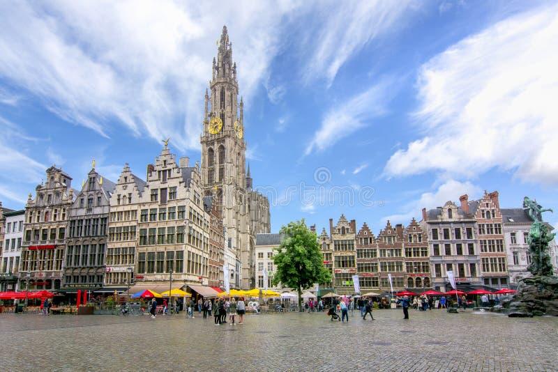 Mercado e catedral de nossa senhora, Antuérpia, Bélgica fotografia de stock royalty free