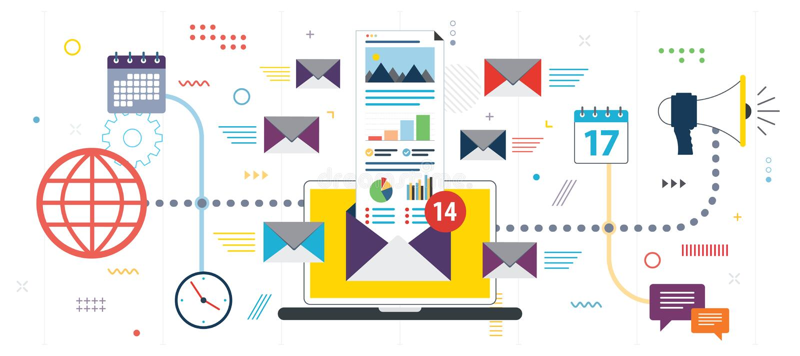 Mercado e comunicação empresarial do e-mail ilustração royalty free