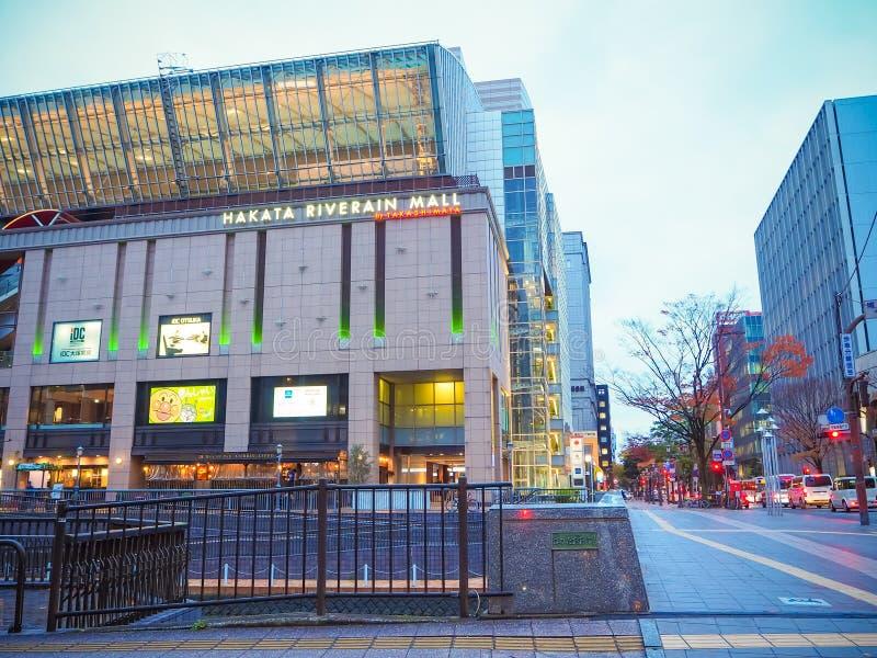 Mercado e rua de Fukuoka fotografia de stock royalty free