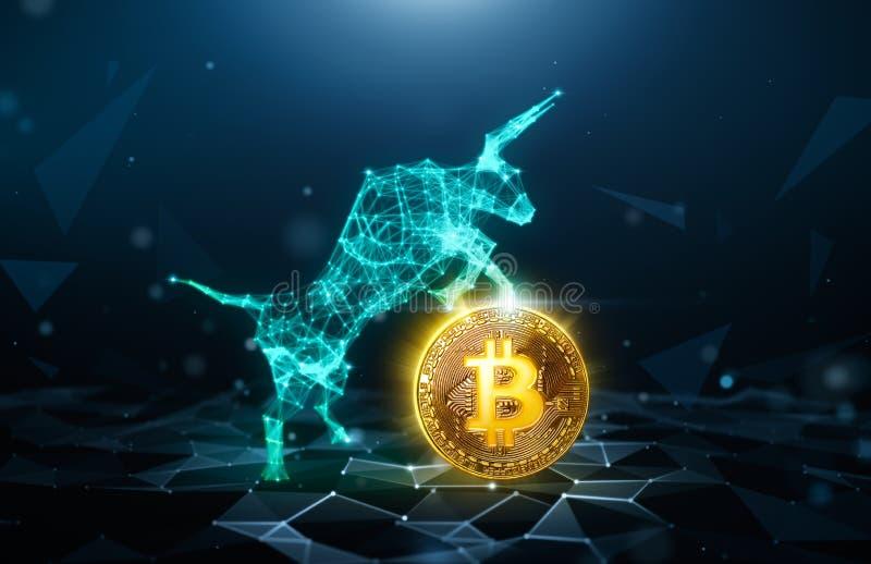Mercado em alta, Bitcoin ilustração royalty free