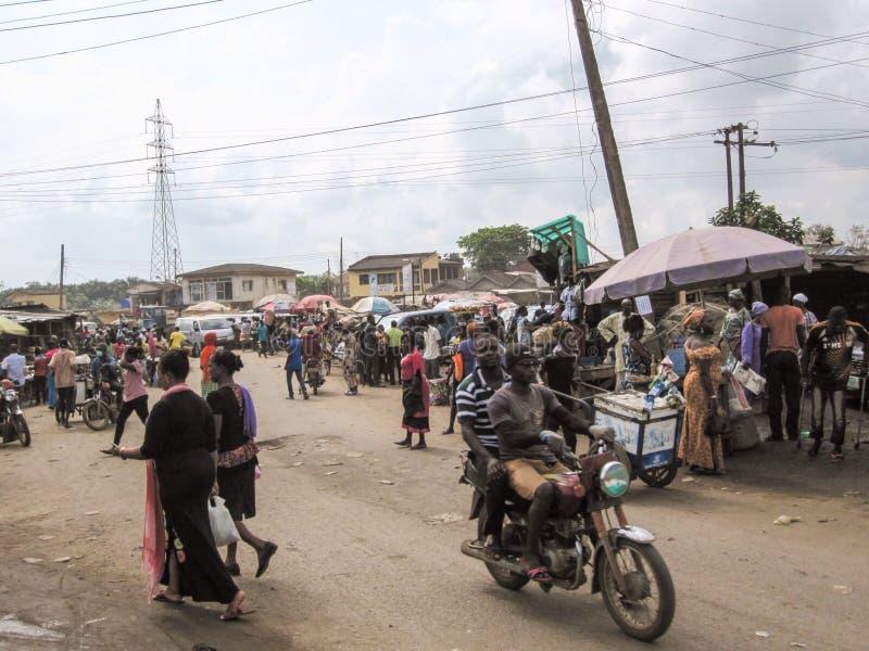 Mercado em Lagos, Nigéria fotografia de stock