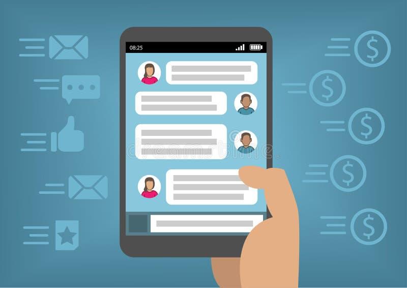 Mercado em linha através dos meios sociais e Instant Messenger como o conceito para a monetização com telefone esperto ilustração do vetor