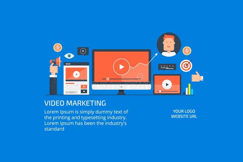Mercado em linha dos meios, promoção video digital, conceito do acoplamento da audiência Ilustração lisa do vetor do projeto ilustração do vetor