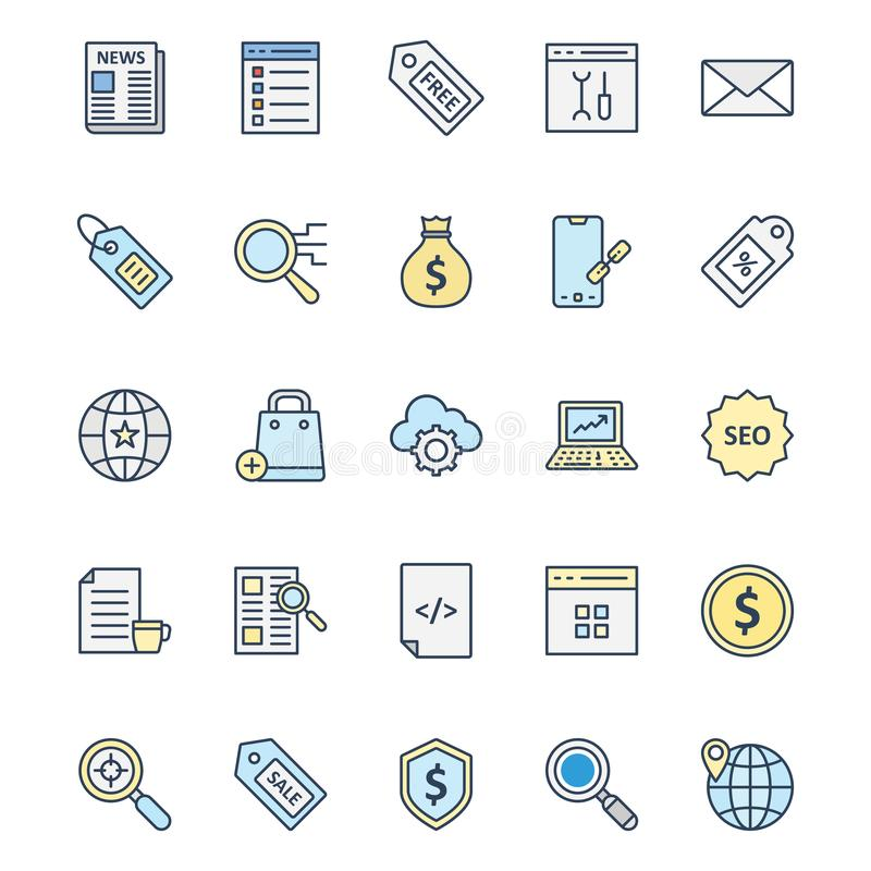 Mercado em linha os ícones isolados do vetor ajustaram-se que podem ser muito facilmente editar ou alterado ilustração do vetor