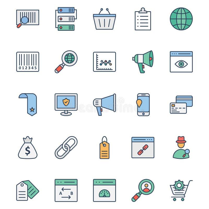 Mercado em linha os ícones isolados do vetor ajustaram-se que podem ser muito facilmente editar ou alterado Mercado em linha grup ilustração stock