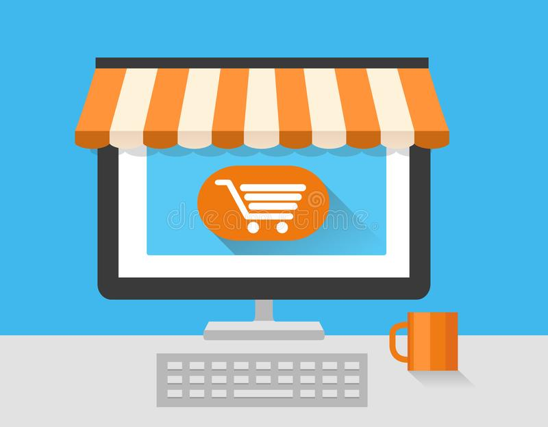 Mercado en línea de la tienda con el ordenador portátil En la línea tienda Venta, ordenador portátil y teléfono elegante con el t ilustración del vector
