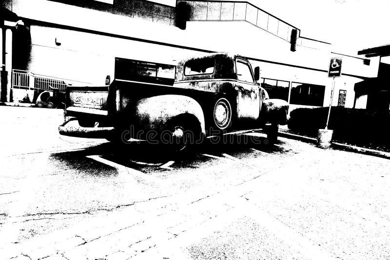 Mercado estacionado caminhão do vintage fotos de stock