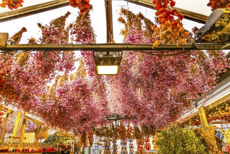 Mercado exterior secado Amsterdão Holland Netherlands da flor das flores imagens de stock